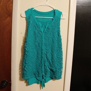 Tank top with lace detail on front, XL